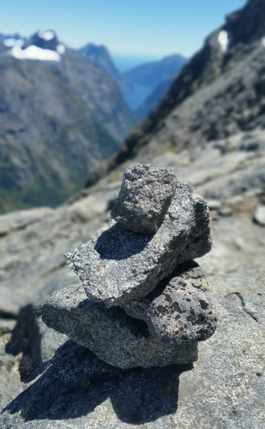 Cairn with Milford Sound